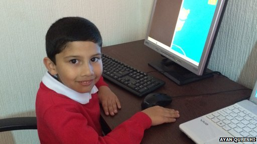 Youngest MCP in the world, Ayan Qureshi, at his computer. Source: BBC